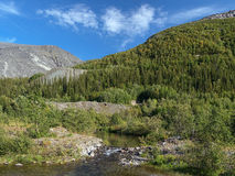 Khibiny Mountains with Rischorr and Kuelpor mounts Royalty Free Stock Photos