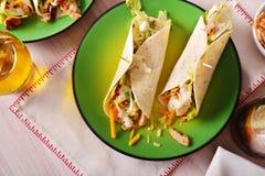 2 khicken fajitas на зеленом взгляд сверху плиты Стоковая Фотография