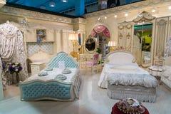Khimki,俄罗斯- 2月13 2016年 在盛大家具购物的儿童的家具,最大的名牌货商店 免版税图库摄影