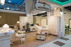 Khimki,俄罗斯- 2月13 2016年 在盛大家具购物的儿童的家具,最大的名牌货商店 库存图片