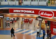 Khimki,俄罗斯- 3月08 2018年 购物中心同盟的商店Mvideo 免版税库存照片