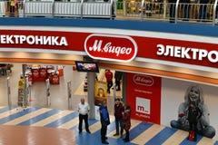 Khimki,俄罗斯- 3月08 2018年 购物中心同盟的商店Mvideo 库存照片