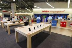 Khimki,俄罗斯- 2015年12月22日 卖电子和家用电器的内部Mvideo大连锁店 图库摄影