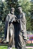Khimki, Россия 3-ье сентября 2016 памятник St Peter и Fevronia Стоковое фото RF