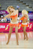 Khimki Dancers cheerleaders. At FIBA World Cup basketball match between Slovenia and Dominican Republic, final score 71-61, on September 6, 2014, in Barcelona Royalty Free Stock Photography
