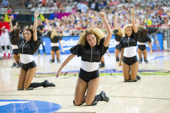 Khimki Dancers cheerleaders. At FIBA World Cup basketball match between Slovenia and Dominican Republic, final score 71-61, on September 6, 2014, in Barcelona Stock Photo