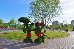 Khimki Rosja, Maj, - 30 2017 rzeźba myszy w parkowym Eco brzeg Fotografia Royalty Free
