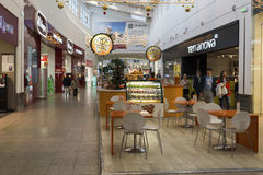 Khimki, Rusland - December 22, 2015 Koffie in grote winkelcentra Mega Stock Afbeeldingen