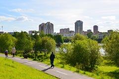 Khimki, Rusland - Mei 30 2017 Milieuvriendelijk Levoberezhny-district Stock Fotografie