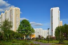 Khimki, Rusland - Mei 30 2017 Milieuvriendelijk Levoberezhny-district Stock Foto's