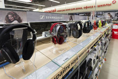 Khimki, Russia - December 22 2015. earphones in Mvideo large chain stores selling electronics and household appliances Stock Images