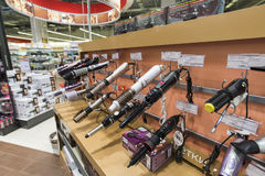 Khimki, Russia - December 22 2015. Hair dryers in Mvideo large chain stores selling electronics and household appliances Royalty Free Stock Image