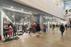 Khimki, Russia - December 22, 2015. The interior of  large shopping mall Mega Stock Images