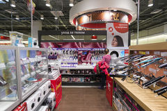 Khimki, Russia - December 22 2015. Interior Mvideo large chain stores selling electronics and household appliances Royalty Free Stock Image