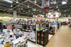 Khimki, Russia - December 22 2015. Interior Mvideo large chain stores selling electronics and household appliances Stock Photos