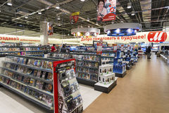 Khimki, Russia - December 22 2015. Interior Mvideo large chain stores selling electronics and household appliances Royalty Free Stock Photos