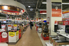Khimki, Russia - December 22 2015. Interior Mvideo large chain stores selling electronics and household appliances Royalty Free Stock Photography