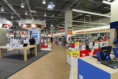 Khimki, Russia - December 22 2015. Interior Mvideo large chain stores selling electronics and household appliances Royalty Free Stock Images