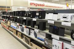 Khimki, Russia - December 22 2015. Speakers in Mvideo large chain stores selling electronics and household appliances Stock Images