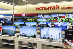 Khimki, Russia - December 22 2015. TV in Mvideo large chain stores selling electronics and household appliances Royalty Free Stock Images