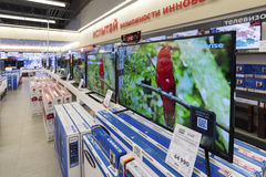 Khimki, Russia - December 22 2015. TV in Mvideo large chain stores selling electronics and household appliances Royalty Free Stock Photo