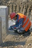 Worker at the construction site royalty free stock images