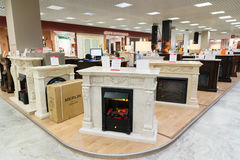 Khimki, Russia - September 03.2016. Electric fireplaces in largest furniture store Grand Stock Photo
