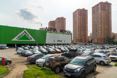 Khimki, Russia - September 12.2016. Large parking in front of Leroy Merlin - a network of French stores for home and garden Royalty Free Stock Photos
