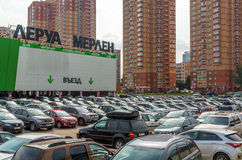 Khimki, Russia - September 12.2016. Large parking in front of Leroy Merlin - a network of French stores for home and garden Stock Images
