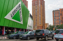 Khimki, Russia - September 12.2016. parking in front of Leroy Merlin - a network of French stores for home and garden Stock Image