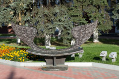 Khimki, Russia-September 03. 2016. Sculpture - bench of reconciliation in the central square Royalty Free Stock Photo
