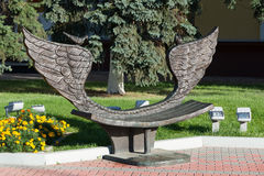 Khimki, Russia-September 03. 2016. Sculpture - bench of reconciliation in the central square Royalty Free Stock Images