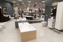 Khimki, Russia - September 03.2016. selling baths and other sanitary ware in largest furniture store Grand Stock Image