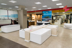 Khimki, Russia - September 03.2016. selling baths and sanitary ware in largest furniture store Grand Royalty Free Stock Photography