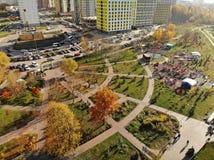 Khimki Ryssland - Oktober 17 2018 Det ekologiska landskapet parkerar Eco Bereg fotografering för bildbyråer