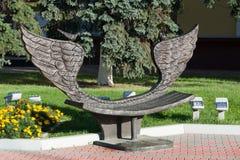 Khimki, wrzesień 03 2016 Rzeźba - ławka pojednanie w głównym placu Obrazy Royalty Free