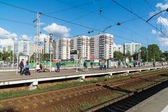 Khimki, wrzesień 03 2016 Stacja kolejowa Kryukovo w Zelenograd Obraz Royalty Free