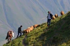Shepherds near Xinaliq, Azerbaijan, a remote mountain village in the Greater Caucasus range