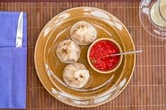 Khinkali è il piatto nazionale Immagine Stock