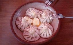 Khinkali délicieux nourrissant géorgien pour le déjeuner photographie stock