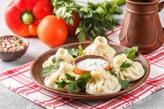 Khinkali - Georgian dumplings with meat and parsley Stock Image