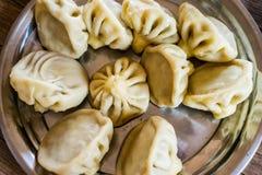 Khinkali Plato delicioso nacional de la cocina georgiana fotos de archivo libres de regalías