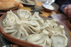 Khinkali in a taverna Royalty Free Stock Image