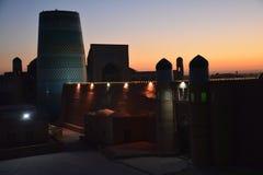 Khiva日落的乌兹别克斯坦中亚全景  免版税库存图片