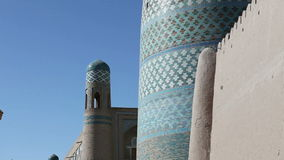 Khiva,乌兹别克斯坦,未完成的Kalta较小尖塔尖塔穆罕默德阿明可汗19世纪 股票录像