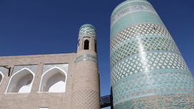 Khiva,乌兹别克斯坦,未完成的Kalta较小尖塔尖塔穆罕默德阿明可汗19世纪 股票视频