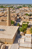 Khiva aerial. Scenic aerial view of streets in old town in Khiva, Uzbekistan with large mosque royalty free stock images
