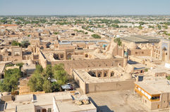 Khiva. Aerial view of old town in Khiva, Uzbekistan with large palace stock images