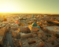 Khiva. Ancient city of Khiva at sunset. Aerial view from top of a minaret stock photography