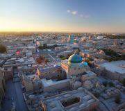 Khiva. Ancient city of Khiva at sunset. Aerial view from top of a minaret royalty free stock images